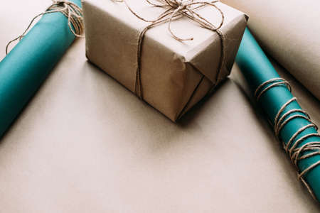 holiday professional gift wrapping. worthy surprise for birthday, fathers day, valentines day, new year, christmas, thanksgiving and other occasions. quality work 스톡 콘텐츠