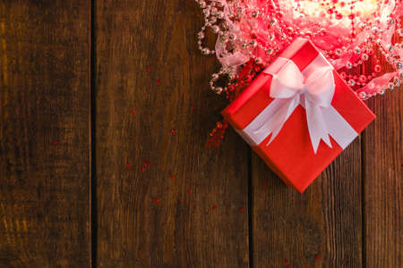 mystery box on decorated background. Surprise and secret present concept Stock Photo