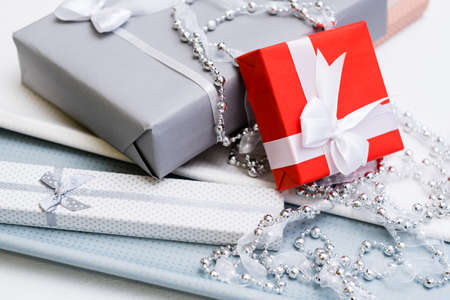 luxury jewelry gifts for top class on grey background. professional present wrapping for toffs on birthday, new year, christmas, thanksgiving, valentines day and other holidays. Stok Fotoğraf