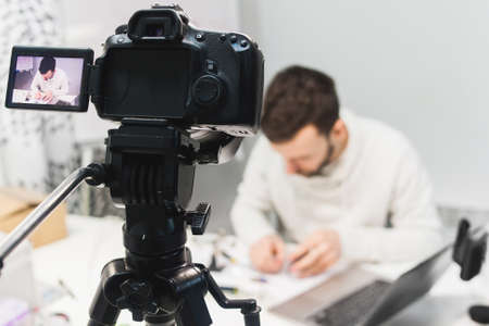 video tutorial creation backstage concept. passionate about work. Filming camera equipment