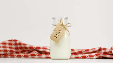 milk bottle on white background. Fresh dairy products. Healthy natural drink full of vitamins. Copyspace concept Stock fotó