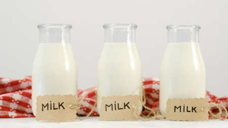 Fresh milk is a tasty and useful drink. Natural nutrition and dairy products benefits. Source of calcium and protein