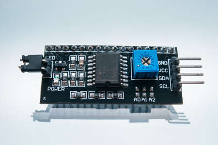 electronic part creating robotics white background concept. radio-controlled toy chip. motherboard technology Stock Photo