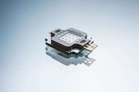 electronic micro detail on white background. component for robotics engineering. technology innovation. Banque d'images
