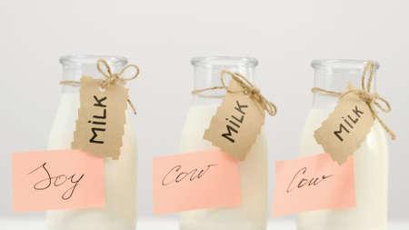 Lactose intolerance. Soy instead of cow milk drinking. Healthy alternative. 版權商用圖片