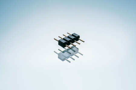 pin connector smd on white background. device for connecting printed circuit boards Stock Photo