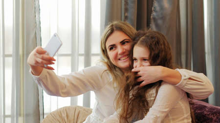 family leisure lifestyle. internet social network. sharing and posting selfie addiction