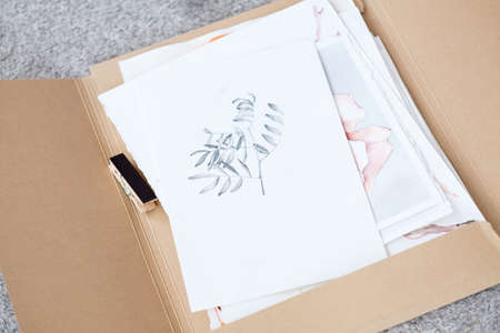 art painting inspiration creativity nature concept. picture of a herb. drawing of a twig with leaves. artist creations. folder full of paintings on paper Stockfoto