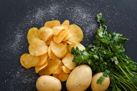 homemade natural fried chips. spicy crisps snack and fresh organic potatoes with green herbs on dark background