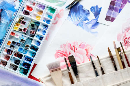 painting art classes. drawings creation. color mix. watercolor palette and brushes. artist instruments and tools
