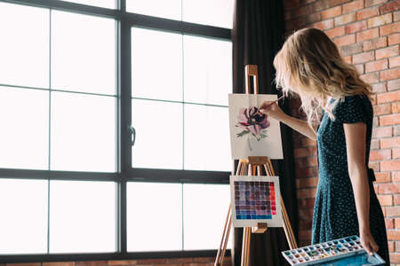 art painting hobby. creative leisure. girl drawing a picture. talent inspiration creation and self expression concept
