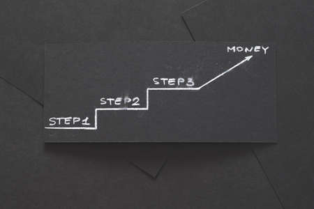 three steps to earning money. financial success planning and progress. layered black paper background with chalk writings.