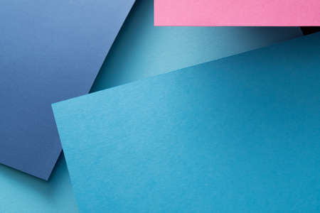 abstract geometric paper texture background. angled design of blue layers. copyspace concept.
