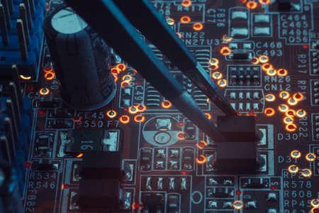 smd electronic components assembling. engineering education Фото со стока