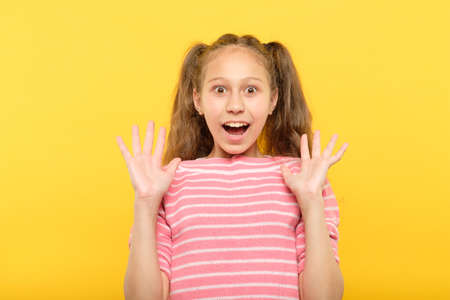 surprised shocked astonished amazed girl. unbelievable news. emotional facial expression. Stock Photo