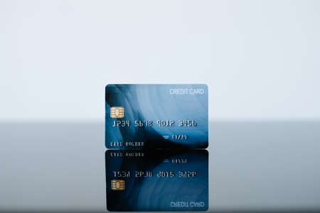 credit card on the surface. banking money and finances. electronic payment. Stockfoto