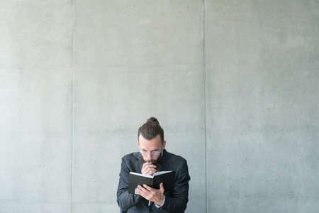 man focused on reading. education knowledge information