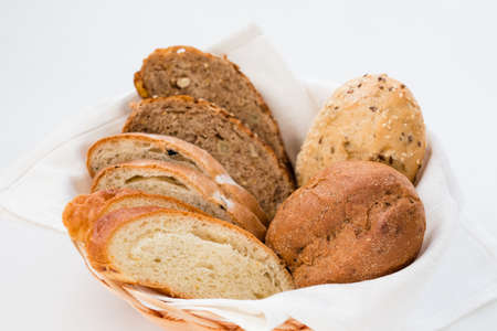 Warm bread basket background. Home bakery concept. Stock fotó