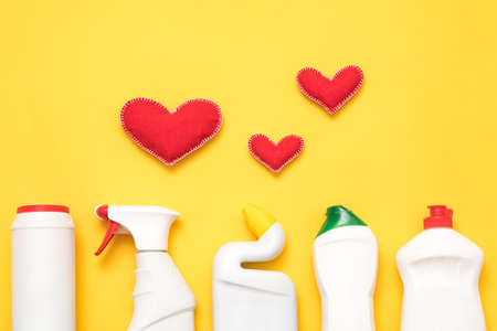 DIY home cleanup. Cleaning products that work. Conceptual composition on yellow background. Stock Photo