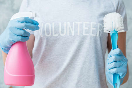 House cleaning concept. Volunteer service. Female torso with atomizer and brush. Stock Photo