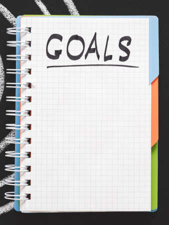 Self motivation. Life targets management. Achievements and future plan. Blank page for goal list in notebook.