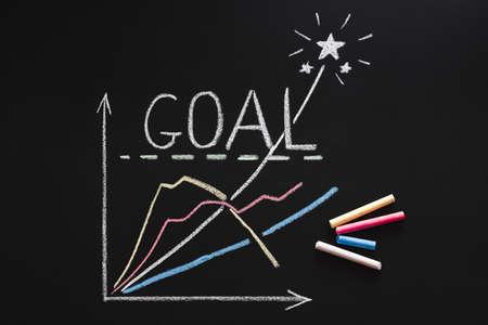 Tiempo de lluvia de ideas. Inspiración e idea. Alcance la estrategia de la meta. Gráfico de proyecto dibujado con tizas de colores sobre fondo negro.