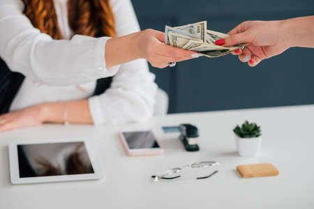 Do business online, get cash salary. Female extending dollar bills. Making money on internet. Income, payment, funds. Stock Photo