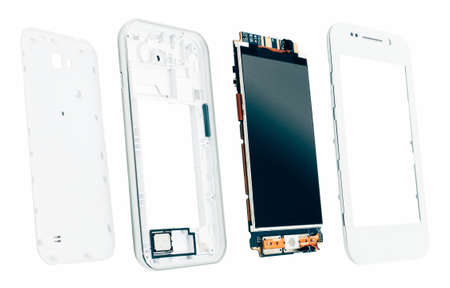 Disassembled smartphone. Electronics manufacturing. Separated screen with microcircuit and phone case. 스톡 콘텐츠