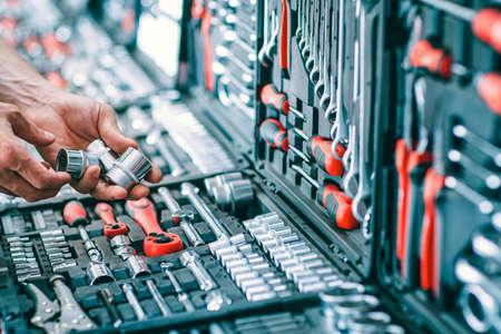 Venta de herramientas de coche. Kit de reparación de automóviles Handyman. Hardware industrial. Pantalla organizada de selección de instrumentos