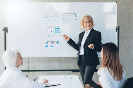 Corporate meeting. Professional cooperation. Successful business woman standing at whiteboard with graphs, giving presentation.