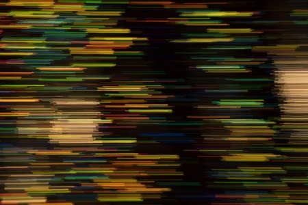 Defocused multicolor horizontal stripes on dark background. Blurred glowing lights. Lens flare design. Stock Photo - 121424897