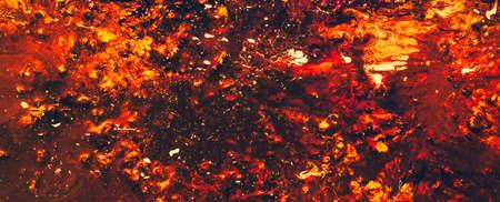 Flame sparkles explosion. Red gradient color mix background. Vibrant vivid blaze pattern. Modern acrylic painting technique Stock Photo