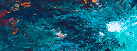 Abstract acrylic oil gouache paint background. Blue teal color mix texture. Layer coat art technique. Celestial body surface.