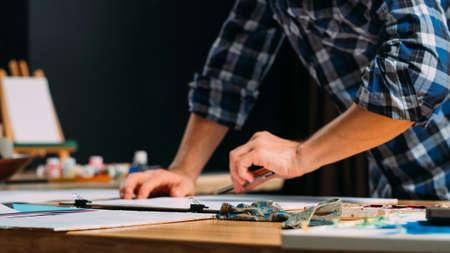Artist sketching. Painter drawing sketch. Creative imagination inspiration. Talent leisure hobby lifestyle. Man hands closeup.