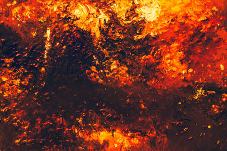 Abstract orange brown red color background. Acrylic oil paint pattern texture similar to glowing flame. Modern painting. Stock Photo