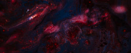 Abstract red blue mix paint background. Acrylic texture space universe like pattern. Glittering sparkling liquid surface motif. Фото со стока - 123868328