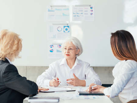 Corporate board. Senior company CEO talking business with executives. Primary aim effective strategy financial success.