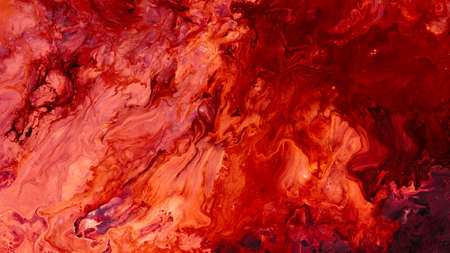 Abstract red paint background. Color gradient texture. Liquid mix fluid blend surface. Acrylic marble effect layer technique. 스톡 콘텐츠