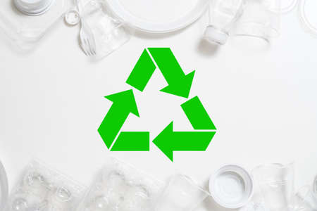 Ecology concept. Waste management and recycling. Plastic disposal. Environmental protection. Copy space