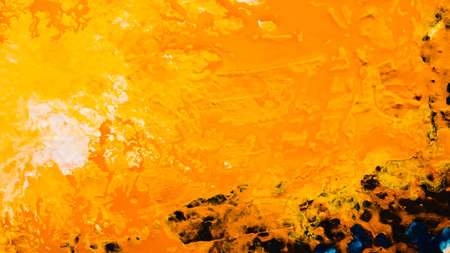 Abstract art texture background. Sand island in ocean design. Vibrant orange paint with white fleck effect. Stockfoto