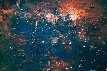 Abstract art texture background. Milky way galaxy design. Beautiful sapphire blue and reddish paint splash.
