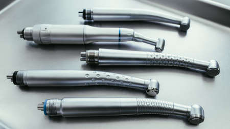 Dentistry equipment teeth healthcare. Set of turbine handpieces without burs.