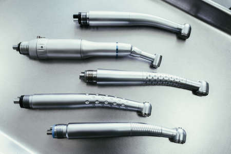 Dental healthcare and stomatology. Set of turbine handpieces without burs.