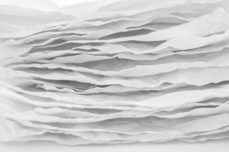 Closeup of gray paper layers stack. Wavy lines abstract art background. Copy space. Stock Photo