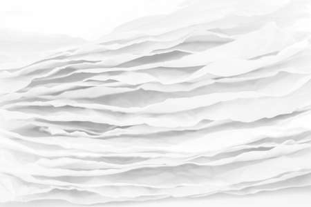 Closeup of white paper layers stack. Wavy lines abstract art background. Copy space. Foto de archivo
