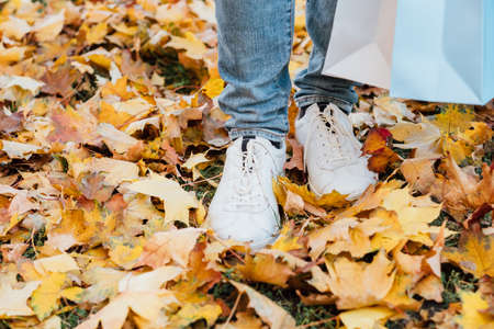 Autumn park walk. Cropped shot of man in sneakers standing with shopping bags on yellow maple leaves. Stock Photo