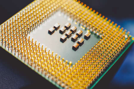 Information technology. Computer component. Closeup of cpu over blur background. 写真素材