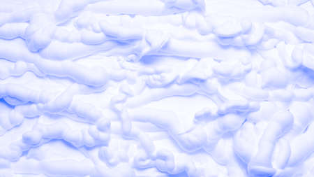 White foam texture abstract art background. Closeup of neon blue lighted whipped cream surface.