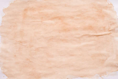Brown splotch over white surface. Stained paper abstract art background. Spilled tea effect. Copy space.
