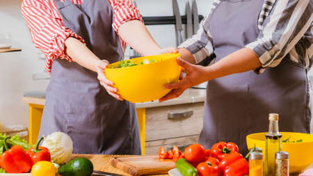 Vegetarian lifestyle. Cropped shot of women cooking together, holding yellow bowl with salad.
